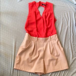 Love Culture Coral and Khaki Romper